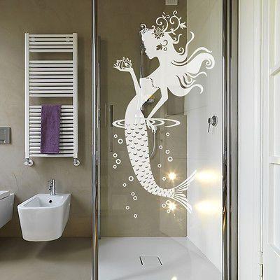 Wandtattoo Wandsticker Wandaufkleber Badezimmer Glasdekor Meerjungfrau Nixe W858 Wandtattoo Badezimmer Wandsticker Glas Badezimmer