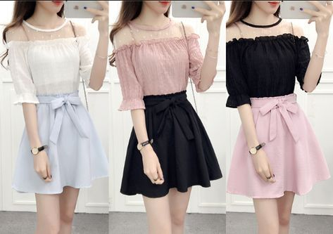 fba68c1b002f21 Sweet chiffon blouse + skirt two pieces AD0185 in 2019