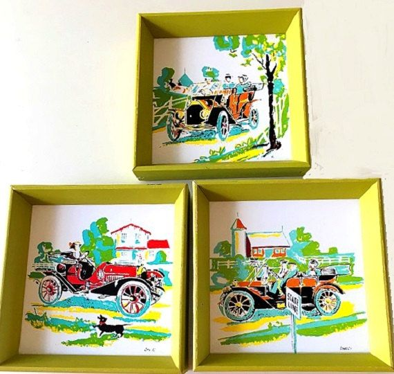Vintage Old Auto Wall Decor, antique cars wall hangings set of 3 ...