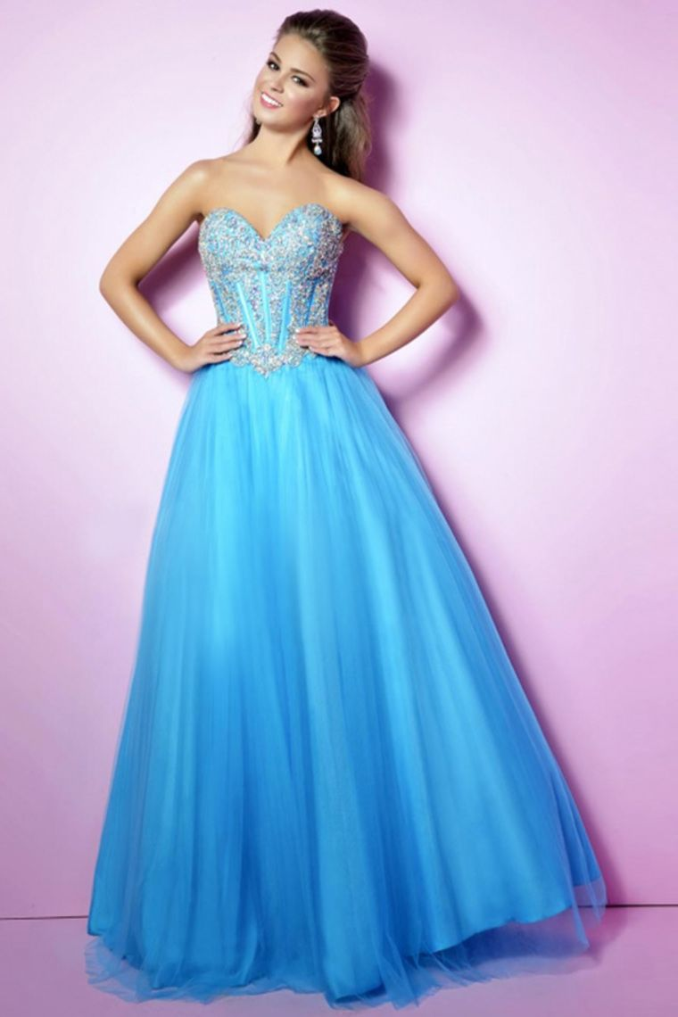 2015 Sweetheart A-Line Prom Gown Tulle Beaded Bodice Floor ...