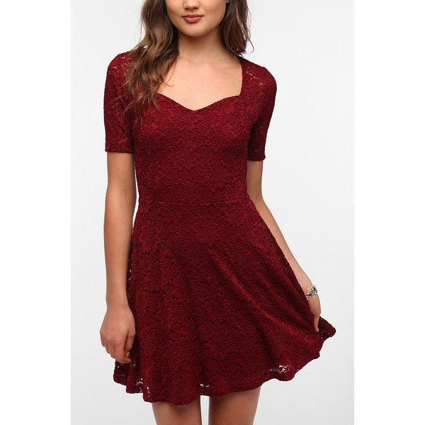 Pins and needles lace top sweetheart dress