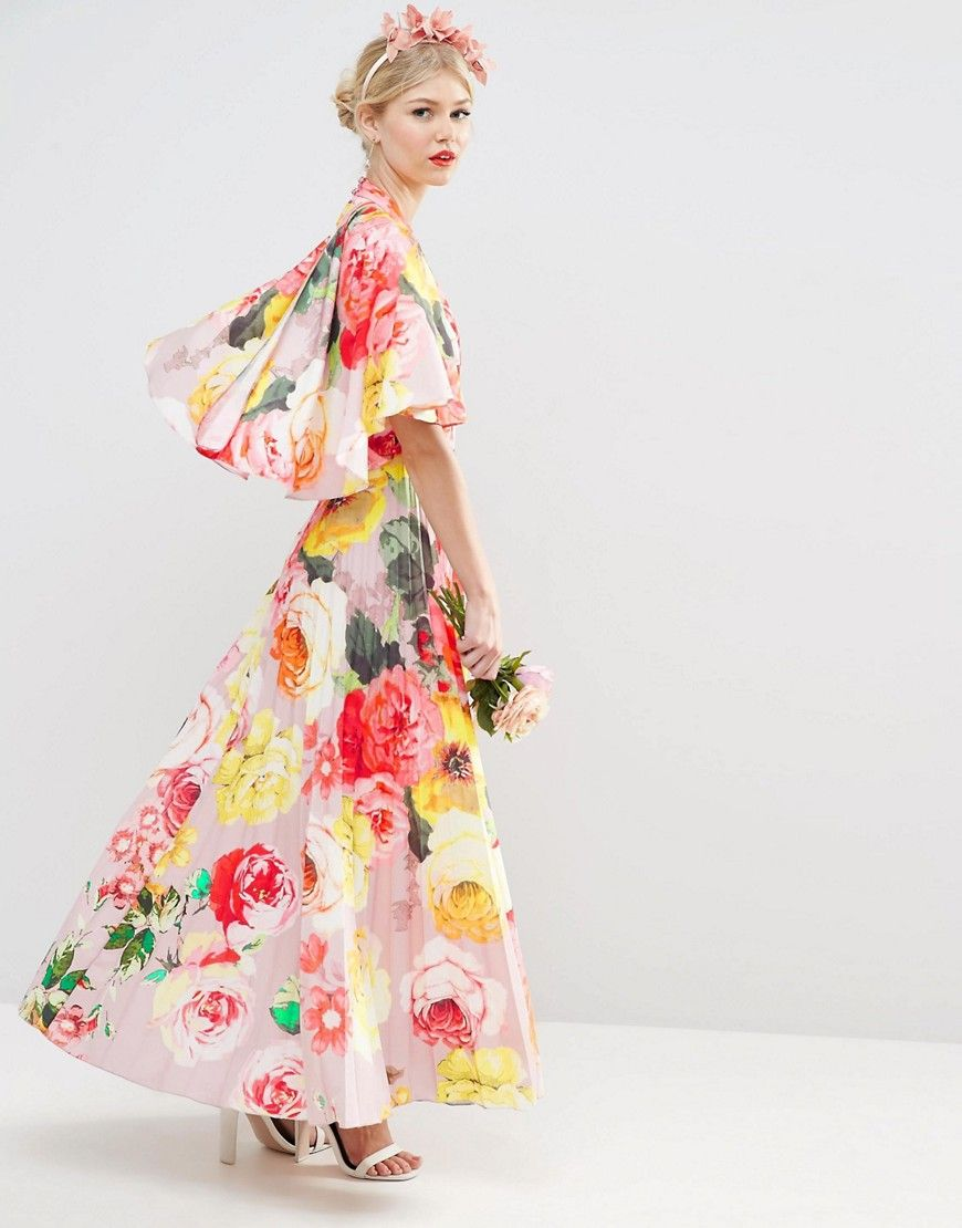 Pleated floral maxi dress with drape back | WEAR TO A WEDDING ...
