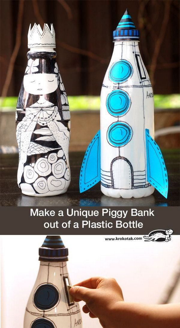 20 cool plastic bottle recycling projects for kids for Unique plastic bottles