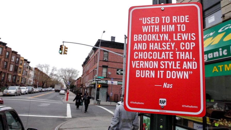Rap quotes as street signs - NYC