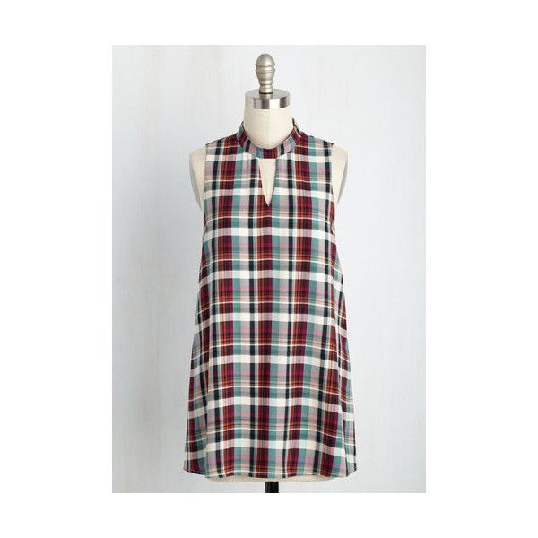 Nifty Nerd Long Sleeveless Number One Fan Fiction Plaid Tunic ($31) ❤ liked on Polyvore featuring tops, tunics, apparel, red, sleeveless woven, woven top, long plaid tunic, white top, long tunics and plaid tunic