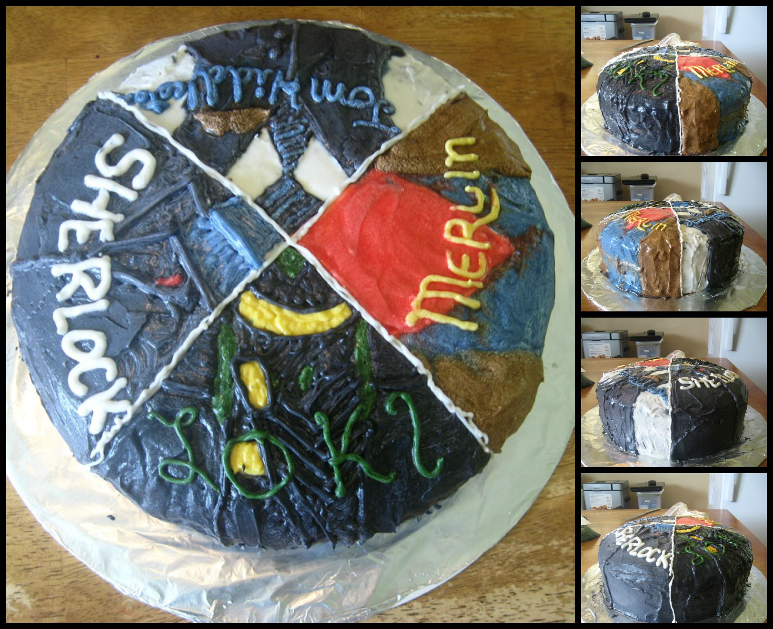A Multi-Fandom cake! Loki, Merlin, Tom Hiddleston, and Sherlock!
