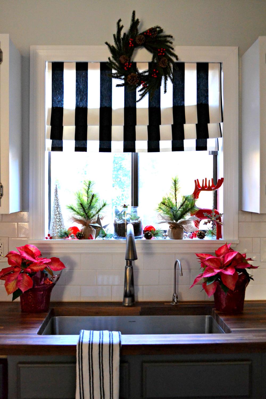 Kitchen window roman blinds  decking the halls my christmas kitchen window  christmas kitchen