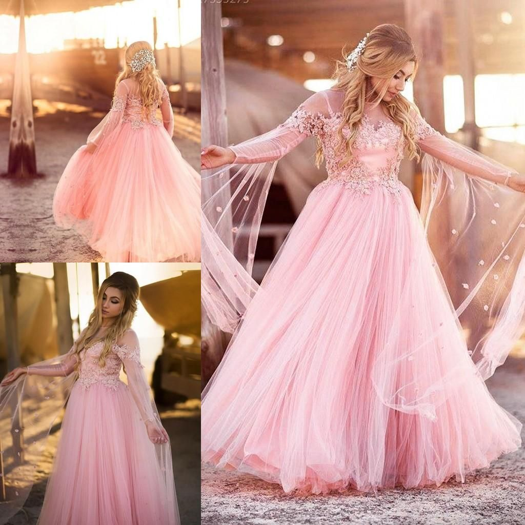 Plus Size Blush Pink Prom Dresses 2016 Long Sleeve Sheer Neck Beaded ...