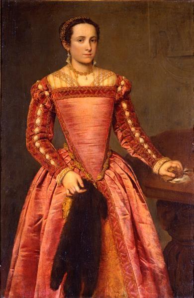 Dame in rotem Kleid, 1560, Italian, Giovanni Battista ...