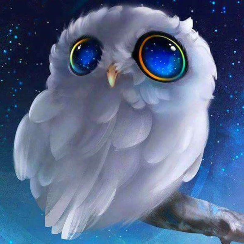5d diy dartoon animal diamond painting white owl stick