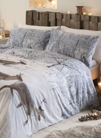 snow reindeer brushed cotton bedding set bedroom. Black Bedroom Furniture Sets. Home Design Ideas