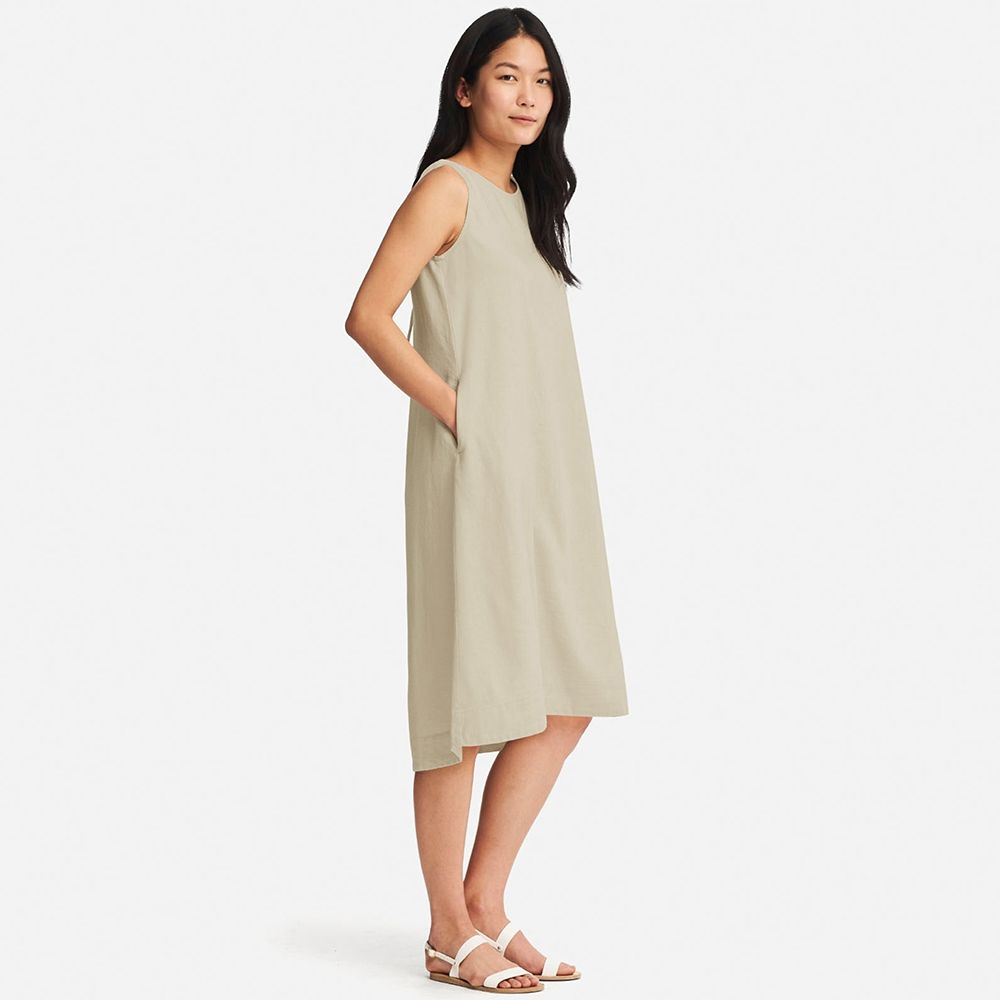 06036d7672 WOMEN Linen Blend Sleeveless Dress