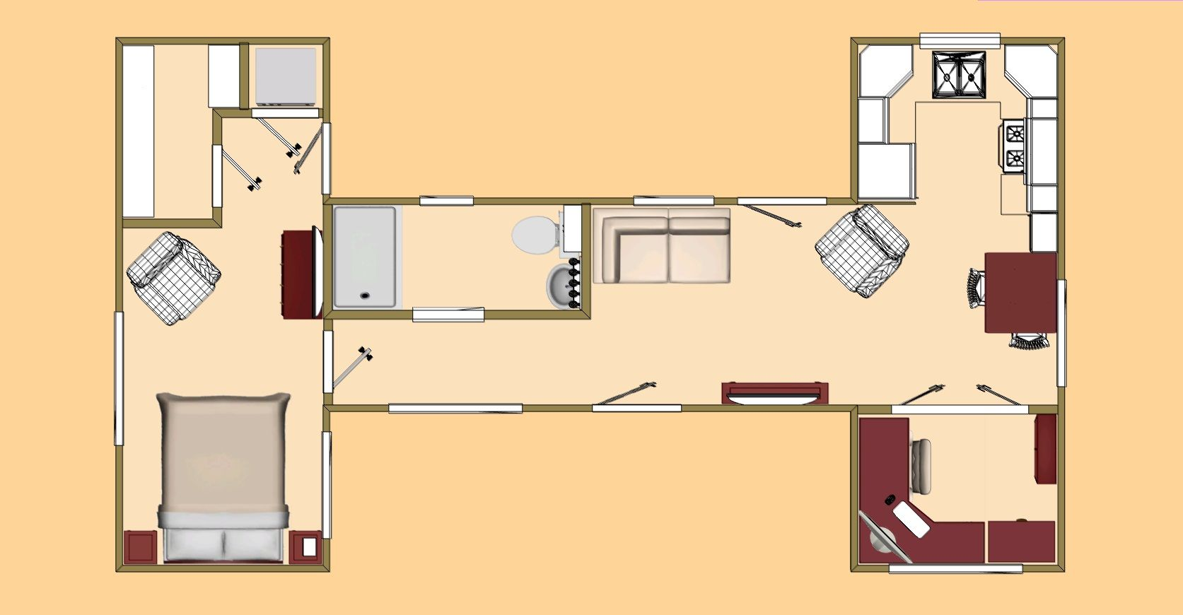 Best Kitchen Gallery: The Big H Floor Plan A 480 Sq Ft Shipping Container Design of Shipping Container Floor Plan Designs on rachelxblog.com