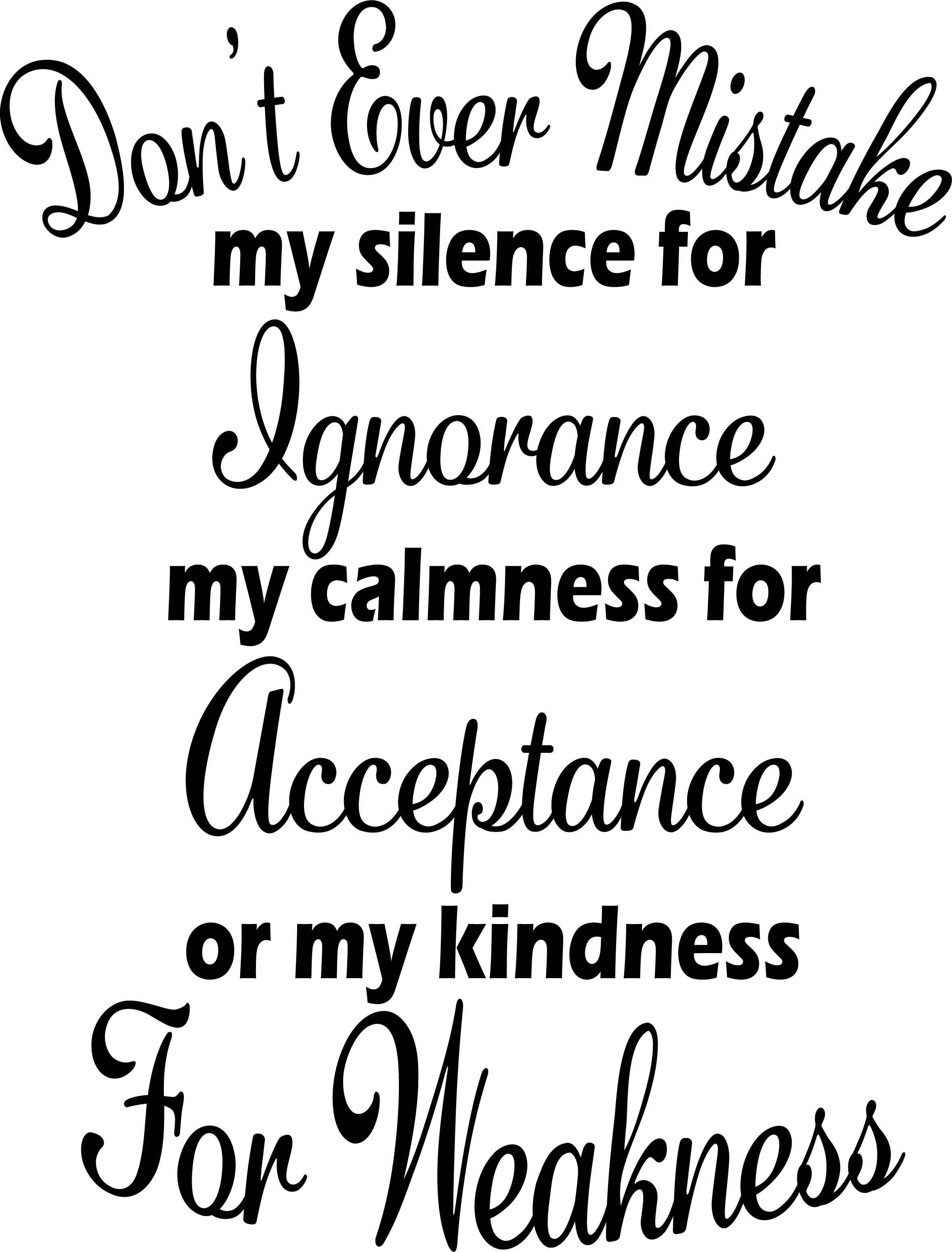 Don't Ever Mistake My Silence Free SVG File  