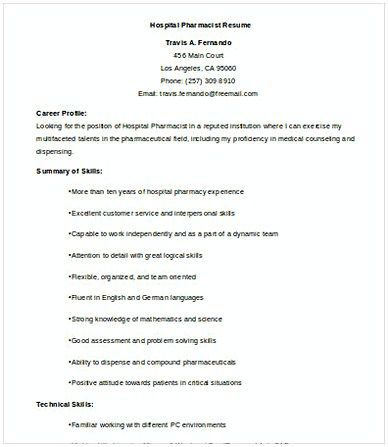 Hospital Pharmacist Resume Resumes Pinterest Pharmacy and Template - hospital pharmacist resume