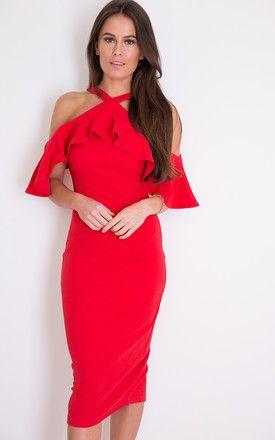 1ff6e3fa2d23 Holly Halterneck Frill Cold Shoulder Midi Dress Red | SilkFred ...