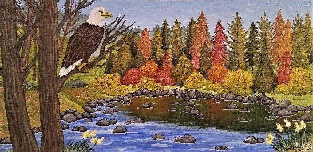 "ACEO Art Print Acrylic Painting/""Born To Roam/"" Fantasy Landscape Moon Stars Quote"