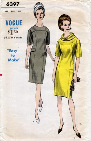 I like the cowl neck option on this \'60s dress, Vogue 6397 | Sew ...