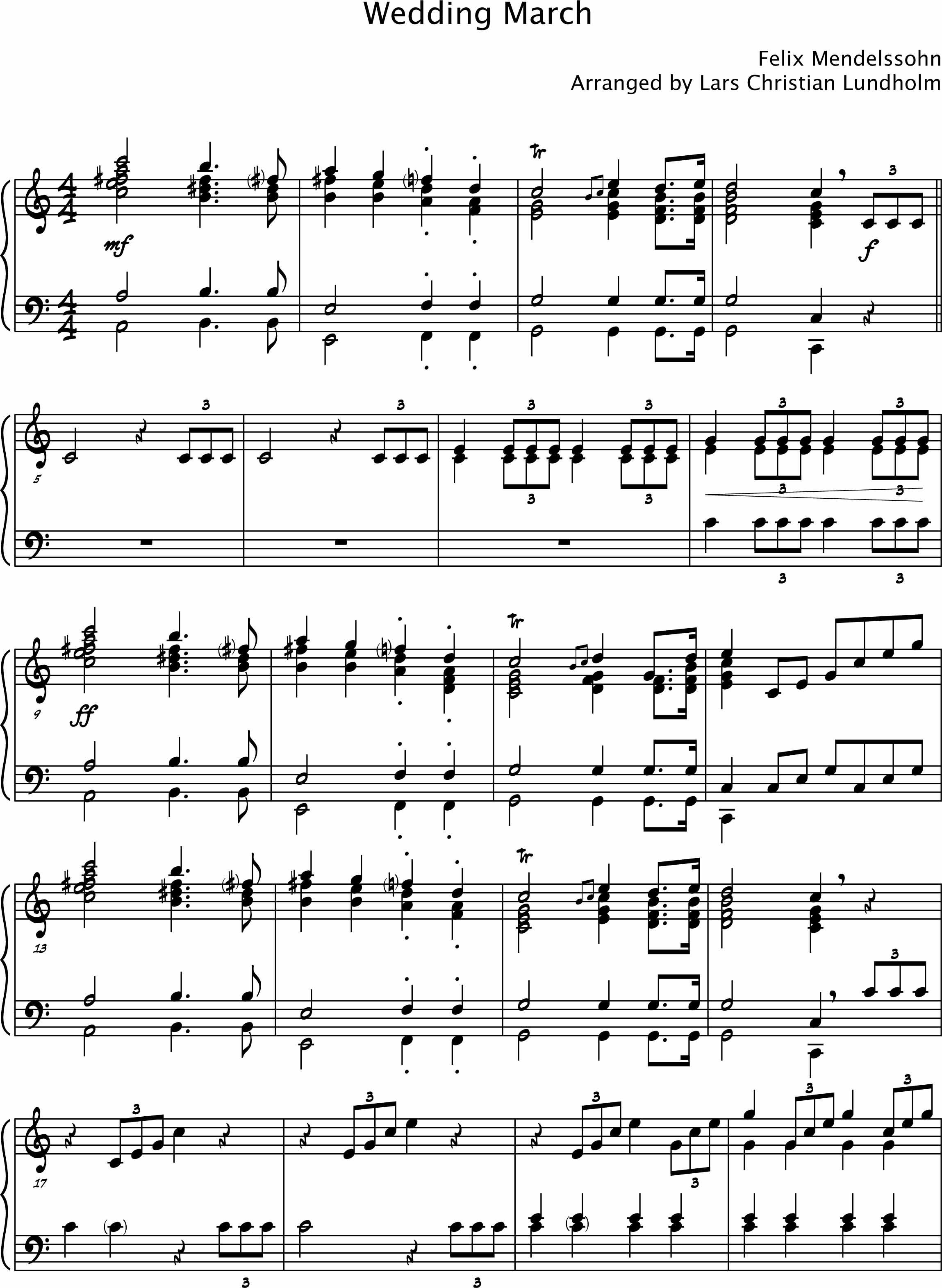 Smashwords Wedding March By Mendelssohn Pure Sheet Music For Piano Arranged Lars Christian Lundholm