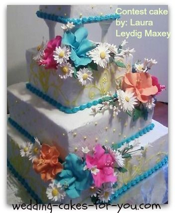 wedding cake contest http www wedding cakes for you daisies and hibiscus 22227