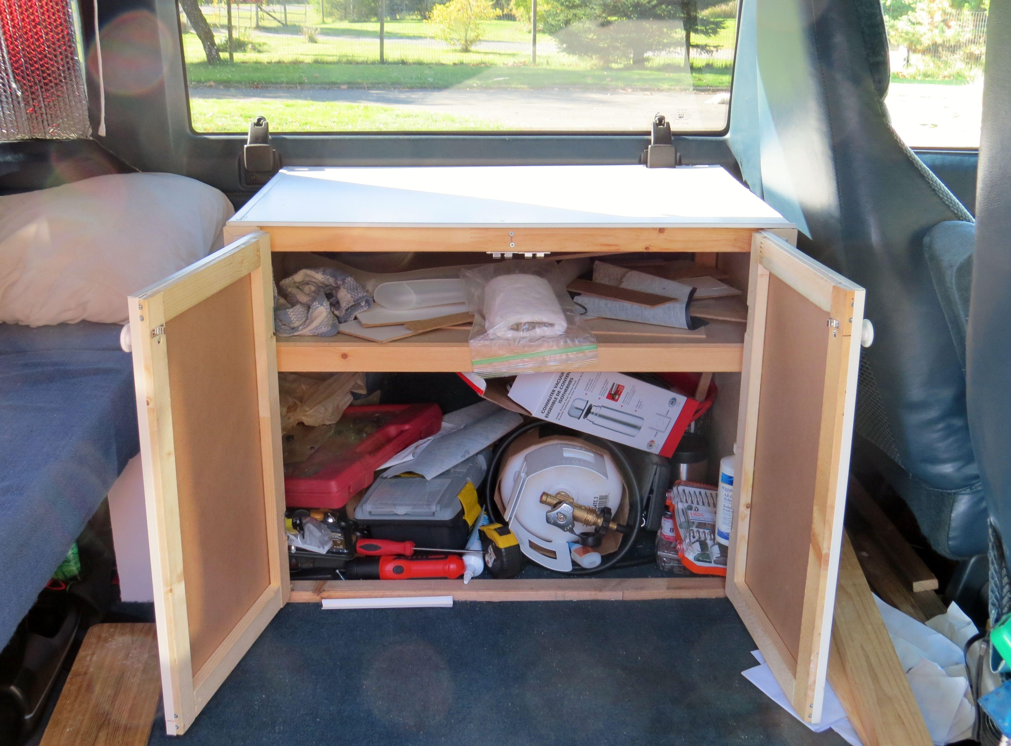 Homemade Astro Van Safari Camper Conversion Building Storage Spaces Homemade Camper Astro Van Van Conversion Cabinets