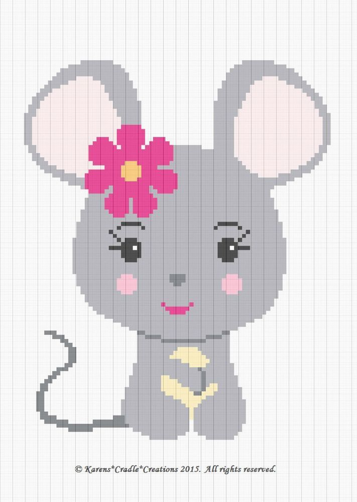 Crochet Patterns - MOUSE BABY GIRL Graph/Chart afghan pattern *EASY ...