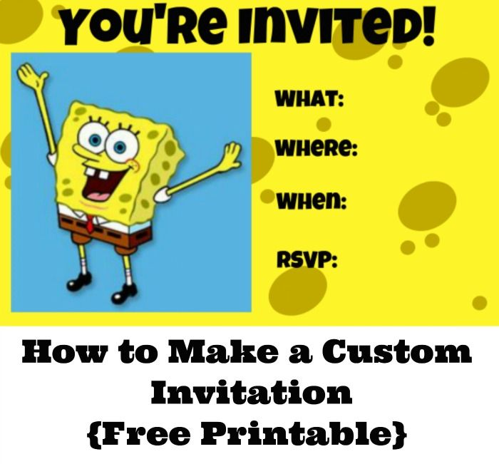 How To Make A Custom Invitation For SpongeBob Squarepants Party
