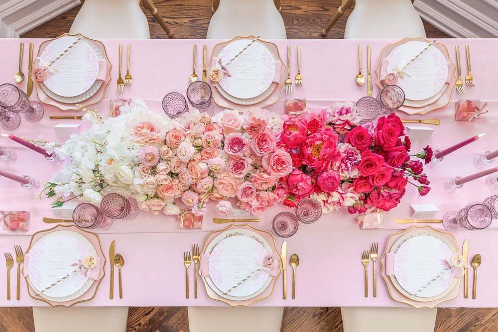 Beautiful Tablescapes On Instagram Weddingbellsmag In 2020 Pink Tablescape Pink Wedding Receptions Pink Wedding