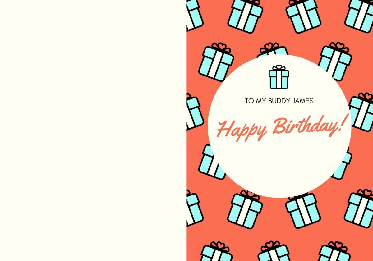 Orange Teal Gift Present Birthday Funny Friend Folded Card Inside Foldable Birthday Card Te Birthday Card Template Birthday Cards Free Printable Birthday Cards