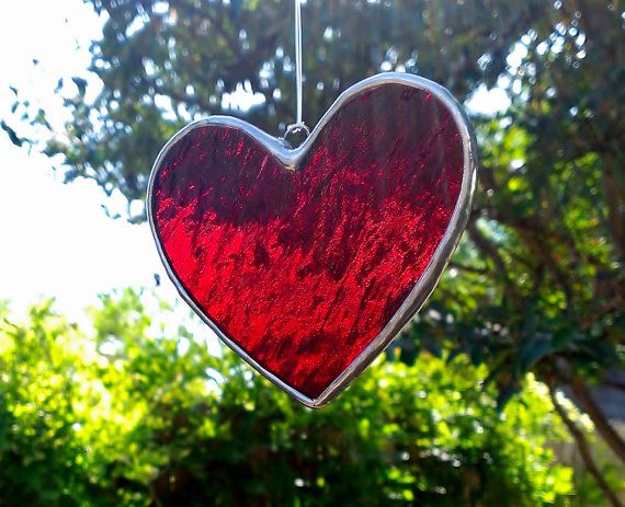 404fe5a229c9 Red Heart Stained Glass Sun Catcher Tiffany Glass by JBsGlassHouse ...