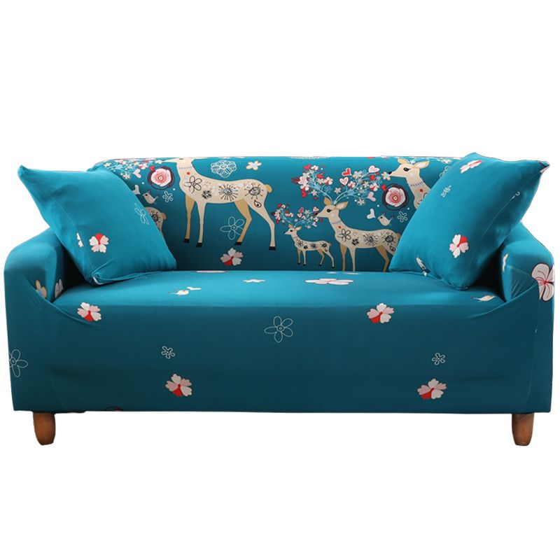 20 47 Blue Cartoon Universal Sofa Cover Printed With Lovely Fawns