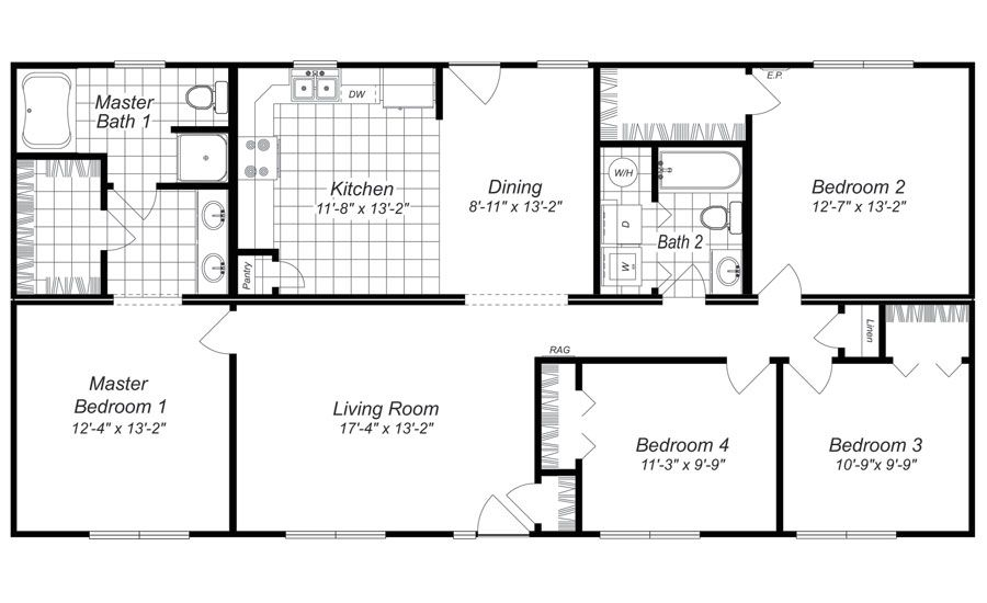 Modern design 4 bedroom house floor plans four bedroom for Four bedroom house plans