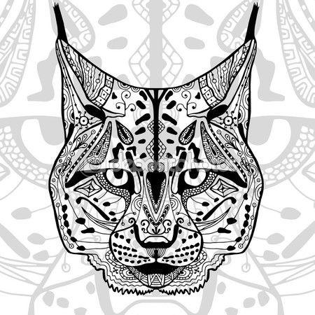 El Gato Montés Y Negro Grabado Con Motivos étnicos Zentangle