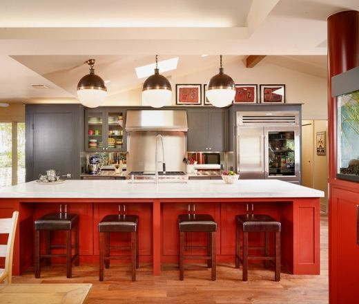 Contemporary Island Style Red Kitchen, Grey Cabinets. Oh