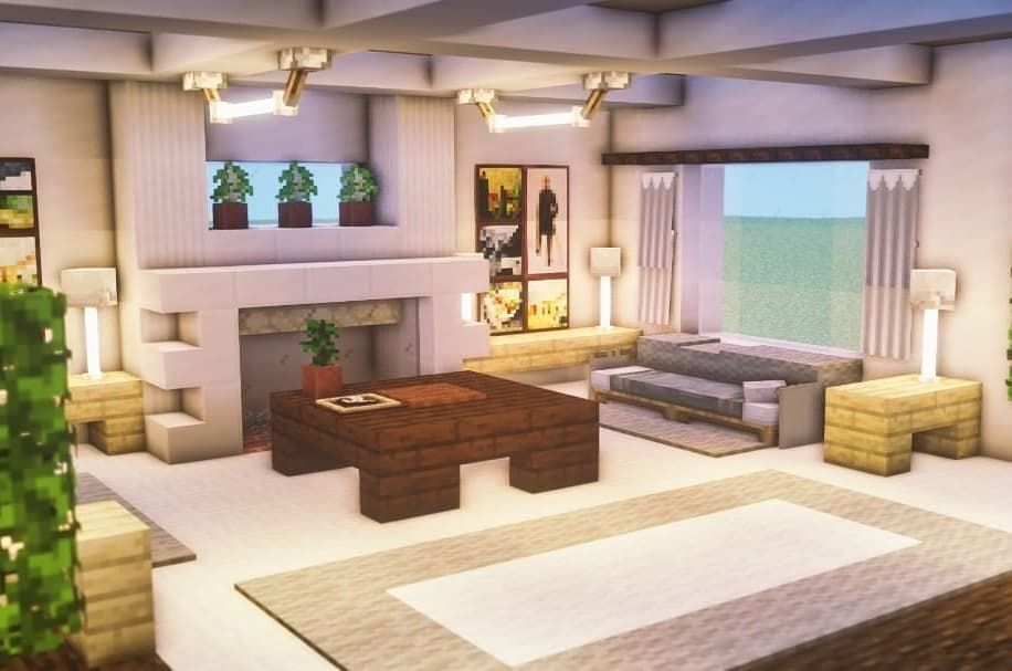 2 Gilla Markeringar 1 Kommentarer No Slowmodeyeezus Pa Instagram Modern Living Room I Minecraft Interior Design Minecraft Bedroom Easy Minecraft Houses