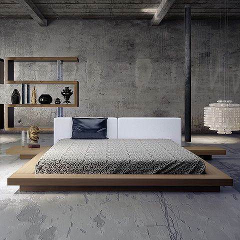 Worth Queen Bed Walnut And White Worth Bed Modern Digs Bedroom Interior Upholstered Platform Bed Japanese Bedroom