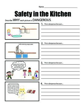 photograph regarding Food Safety Printable Worksheets named Protection within just the Kitchen area (well-liked security situations) Goods