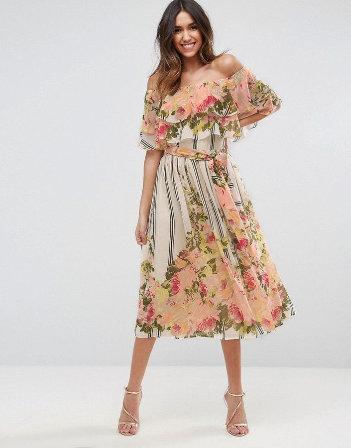 fa8ec197e6 ASOS Stripe Floral Bardot Ruffle Midi Dress | Woman in style in 2019 ...