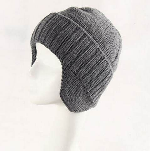Cheap winter beanie hat for men knit hat with ear flaps  7bede9a852f