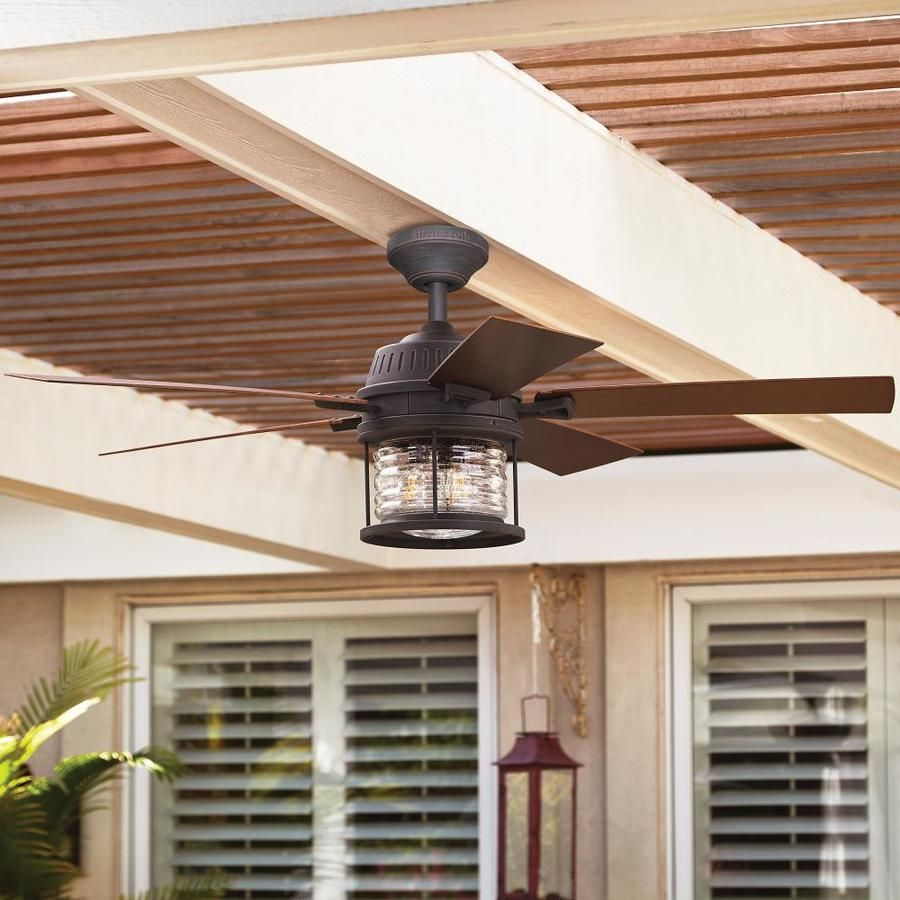 Allen Roth Stonecroft 52 In Rust Led Indoor Outdoor Ceiling Fan With Remote 5 Blade Lowes Com Outdoor Ceiling Fans Ceiling Fan Ceiling Fan With Remote