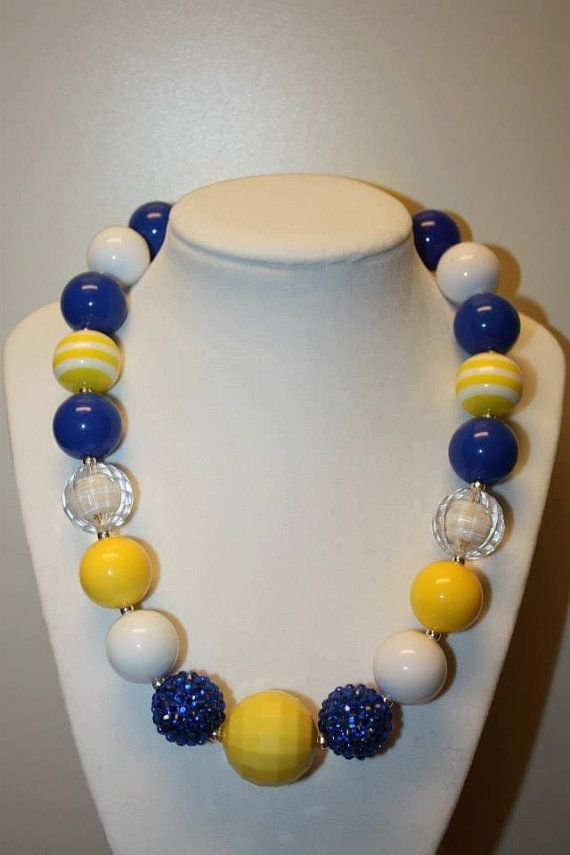 Handmade blue and yellow beaded necklace