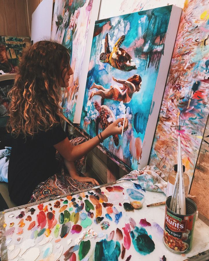 Interview YearOld Artist Dimitra Milan Paints Her Wildest - Artist creates amazing fantasy dreamscapes into her small studio without using photoshop