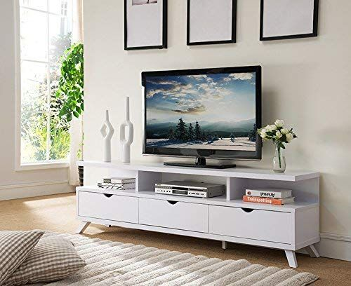 Smart Home 151280wh 75 Tv Stand Entertainment Center In White