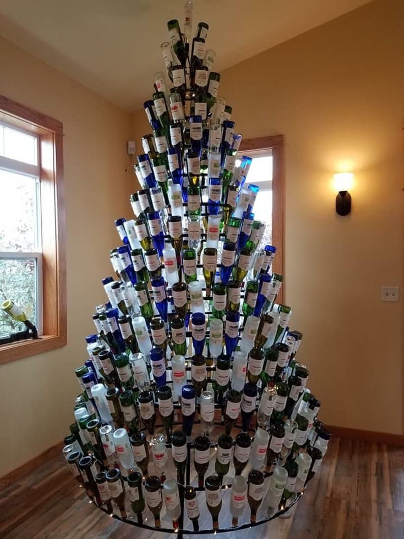 Wine Bottle Tree 10ft 356 Bottle In 2020 Wine Bottle Trees Christmas Tree With Coloured Lights Christmas Wine Bottles
