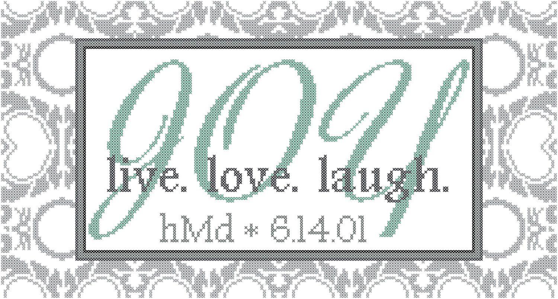 Modern Wedding Cross Stitch Pattern Live Love laugh Joy with ...