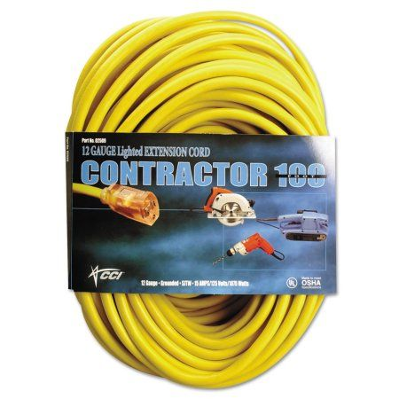 Cci Vinyl Outdoor Extension Cord 100 Ft 15 Amp Yellow Walmart Com Outdoor Extension Cord Extension Cord Extensions