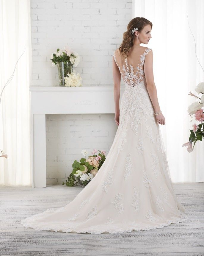 524 Bonny By Bridal Sheer Tattoo Lace Back On This Fit And Flare Wedding Gown