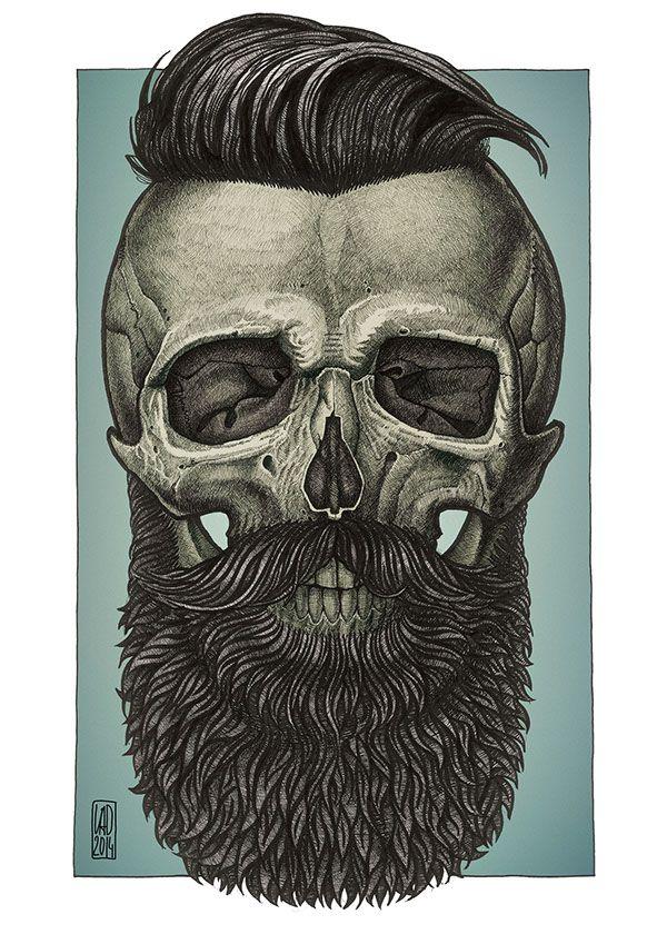 design barbershop ideas beard art beard tattoo a skull forward