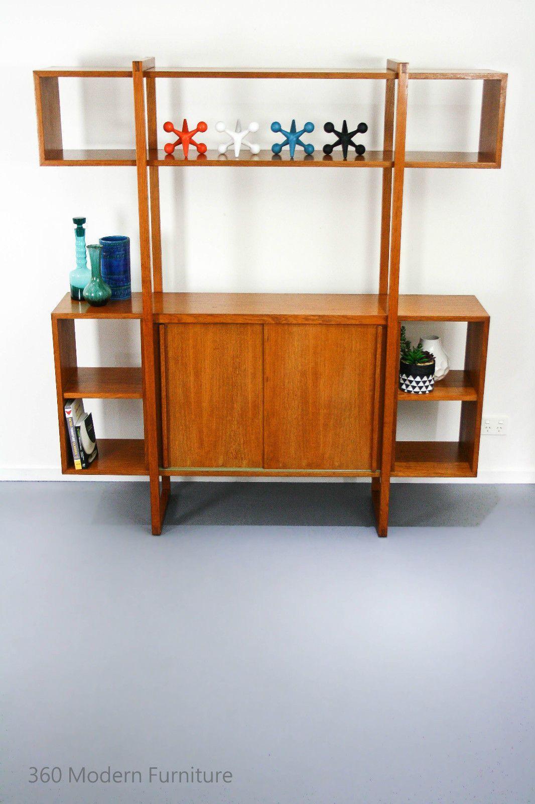 Mid century room divider wall unit bookcase teak shelves retro