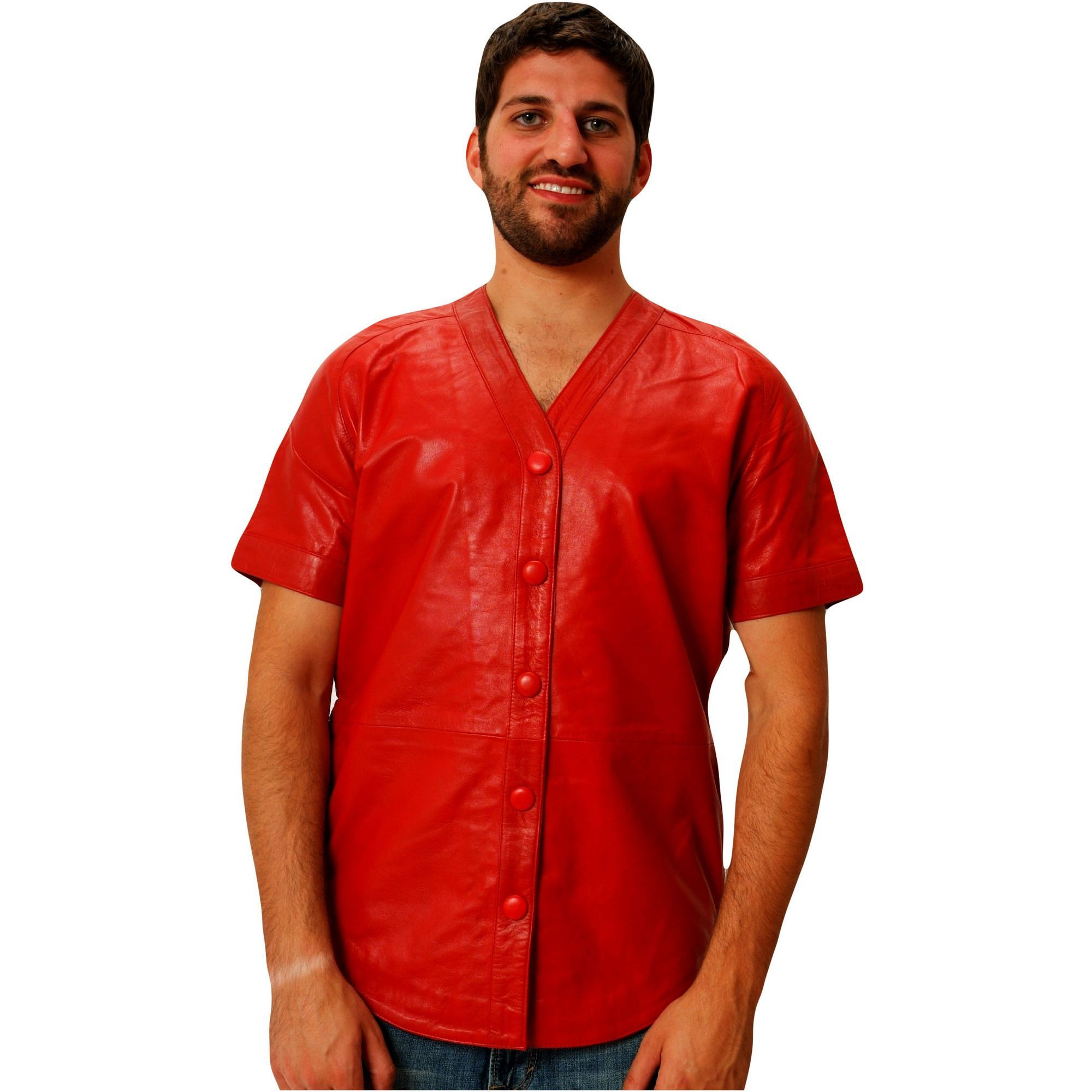 Mens Leather Shirt Red Baseball Jersey style Nappa Sheepskin Relaxed ... 10372dc71